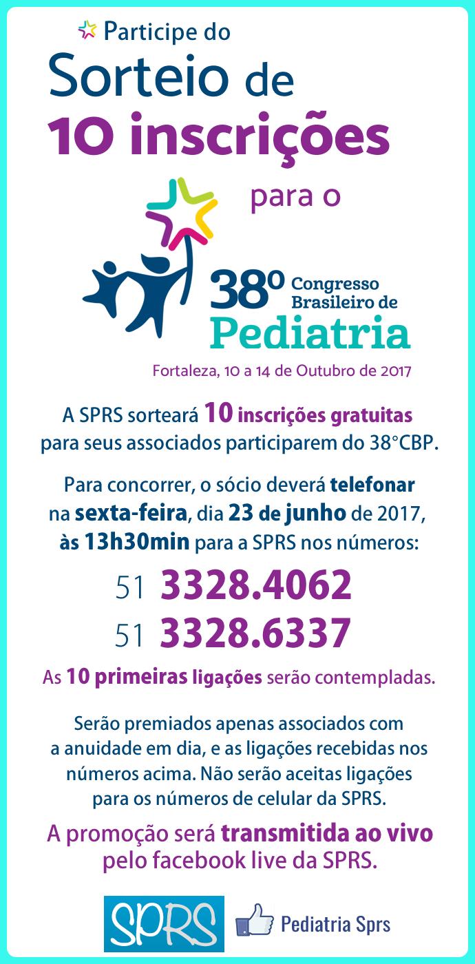 SPRS Sorteio inscrições no  38° Congresso Brasileiro de Pediatria