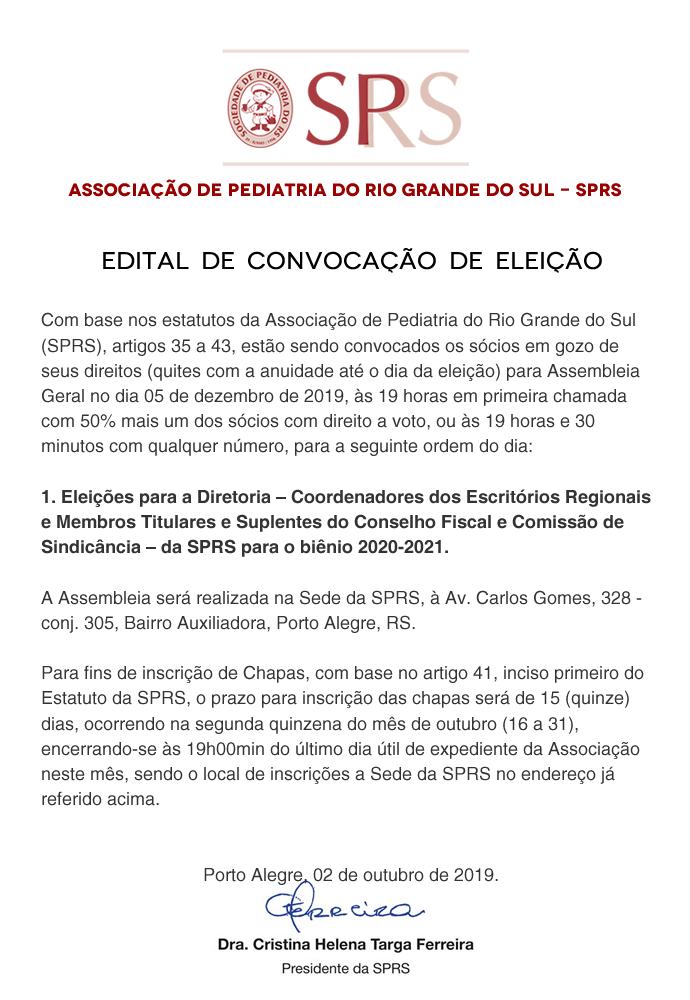 Edital Eleição SPRS Gestão 2020-2021